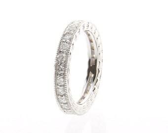 Vintage Eternity Band, Filigree Diamond Eternity Band, Diamond Eternity Ring in 14K White gold. Classic Diamond Ring