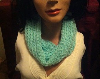 Crochet aqua blue neckwarmer cowl scarf