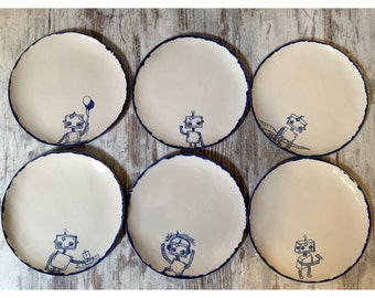 Set of 6 robot ceramic handmade dinnerware - custom hand shaped and handpainted ceramic plate