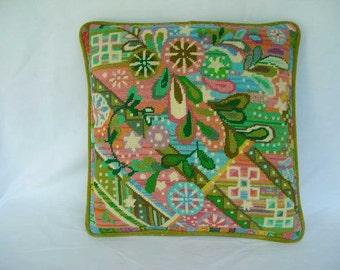 Vintage Handmade Needlepoint Throw Pillow Modern Colorful