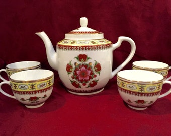 Teapot, Cups, Chinese Lotus Blossom
