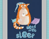 Sleepy funny cat Counted Cross stitch pattern PDF, instant download, printable pattern