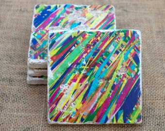 Colorful Abstract Art - Set of 4 - Stone Drink Coasters