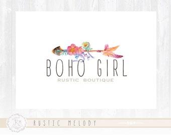 Floral Logo Design Boho Chic Logo Watercolor Logo Boutique Logo Photography Logo Shabby Chic Logo Watermark