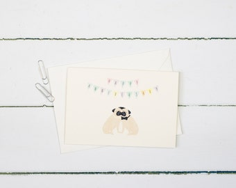 Pug- Anniversary greetings card