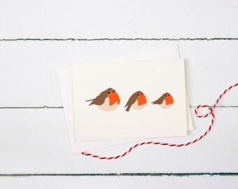Trio of Christmas Robins greetings card