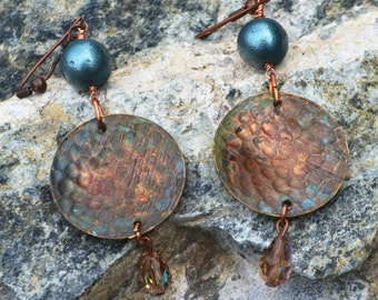 Mixed media: Hammered copper earrings