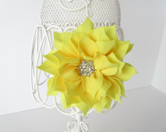 Yellow flower hair bow, baby toddler girls teen yellow flower hair clip, spring holiday, prom,flower girl, special occasion flower accessory