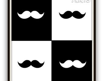 Mustache Print - Mustache Digital Art - Mustache Poster - Moustache Print- Moustache Digital Art