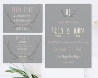 Printable Wedding invitation Set,  Winter woodland/Antlers winter wedding/Plum and grey Calligraphy / invite reply details Rustic wedding