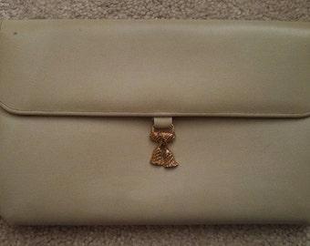1960's Original 'Debbie Jerome' Ivory Leather Clutch