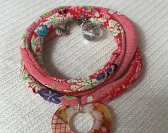 Lovely Kimono Bracelet made from Japanese Chirimen Fabric