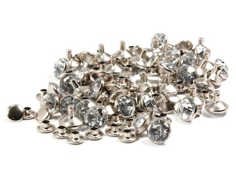 Clear Synthetic Crystal Rivets, 10mm