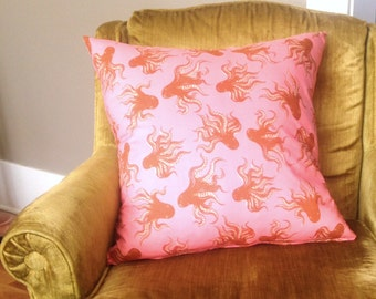 Octopus Throw Pillow Pink & Orange