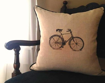 Bicycle Print Throw Pillow