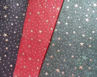 Luxury Cotton And Silk Paper Sheets With Gold Stars And Dots