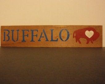 Hand Painted Wood Buffalo Sign
