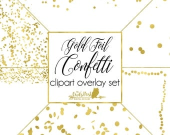 Gold Foil Confetti Photo Overlays |Set of 6 PNG Files (10x10in) with TRANSPARENT Backgrounds | Gold Foil Confetti Clipart | Digital Download