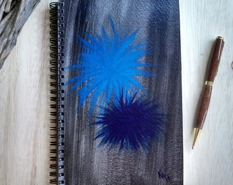 Hand Painted Spiral Journal; Original Art on Wire Bound Blank Notebook; Writing Journal; Small Sketchbook; Blue Starbursts