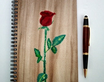 Hand Painted Pray Rain Journal; Wire Bound Spiral Journal; Blank Notebook; Manifestation Journal; Single Red Rose
