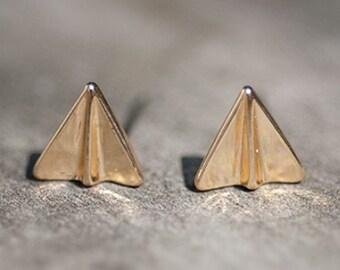 Gold Origami Earrings - Gold Paper Airplane Earrings - Tiny Origami Stud Earrings