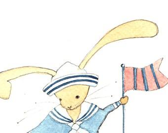 Rabbit Art Print, Nursery Wall Decor, Nursery Art, Customised Print, Wall Art, Baby Boy Nursery, Rabbit, Nautical Nursery, New Baby Boy