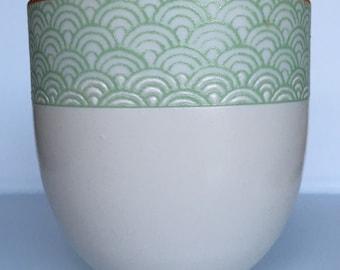 Vintage Otagiri-Style Mint Green Fish Scale Design Japanese Tea Cup