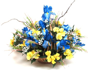 Large Silk Floral Flower Arrangement Centerpiece Yellow Blue White Iris in a Woven Basket Lovely for all seasons