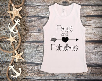Four And Fabulous Shirt;Kid's Shirt;Fourth Birthday Shirt;Girl's Fourth Birthday;Girl's Baseball Shirt;4th Birthday Shirt Kid's;