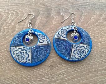 Portuguese antique tiles replica dangle earrings, Portuguese jewelry, Portugal, azulejos, azulejo dangle earrings, Portuguese earrings, tile