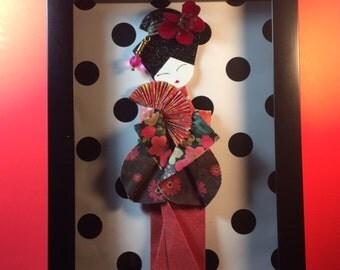 Origami Geisha in Shadow-Box Frame Display