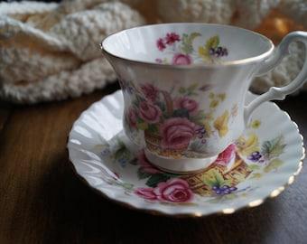Royal Albert Rose Basket Teacup and Saucer
