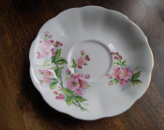 "Royal Albert ""Evesham"" (Apple Blossoms) Saucer, pink flowers"
