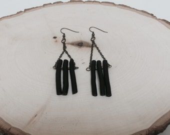 Black Painted Twig Earrings