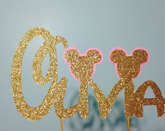Minnie Mouse Cake Topper, Gold Glitter Cake Topper, Birthday Cake Topper, Baby Shower Cake Topper, Mickey Mouse Cake Topper