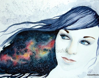 Watercolor, Painting, Portrait, Abstract, Galaxy, Hair, Girl, Print