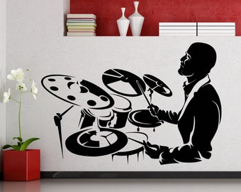 Drummer Wall Sticker Music Vinyl Decal Home Interior Decoration Waterproof High Quality Mural (17mu)