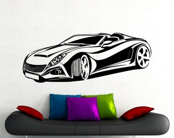 car wall stickers etsy. Black Bedroom Furniture Sets. Home Design Ideas