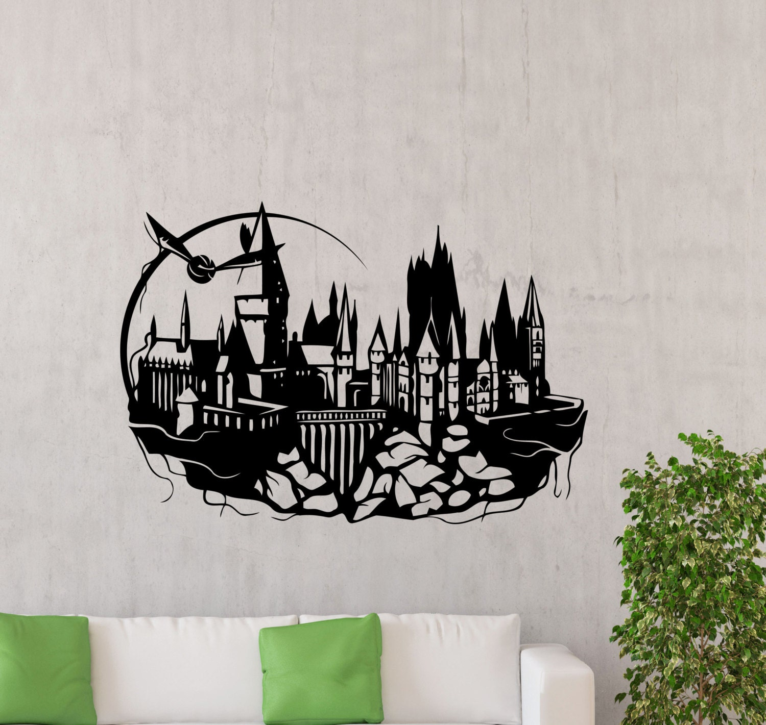Medium Castle Decoration: Hogwarts Wall Decal Harry Potter Magic Kingdom Silhouette