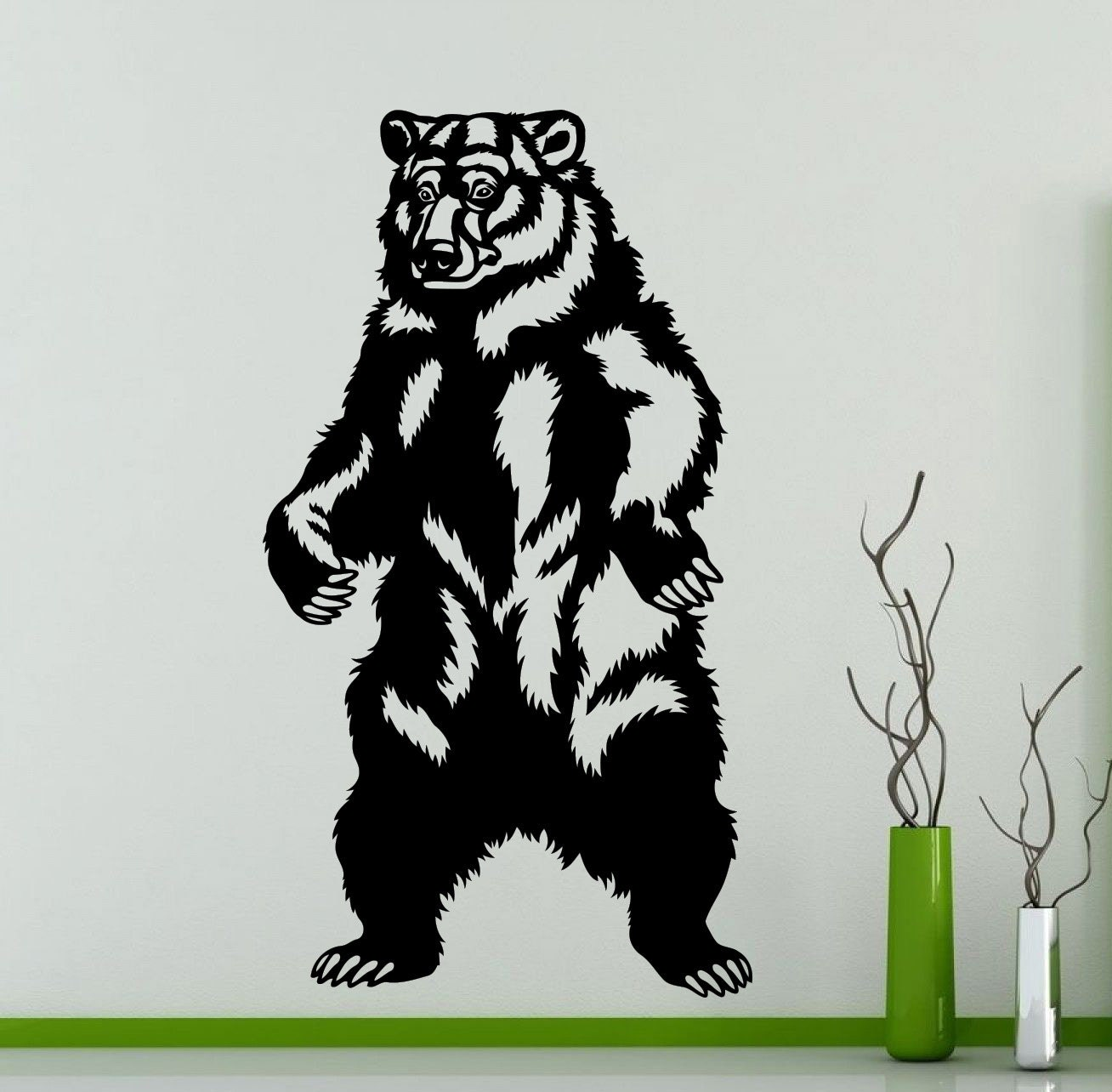 Bear Wall Stickers Bear Standing Wall Sticker Grizzly Vinyl Decal Home Room