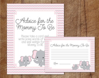 Elephant Baby Shower Advice For Mommy To Be Cards And Sign, Pink And Grey  Elephant