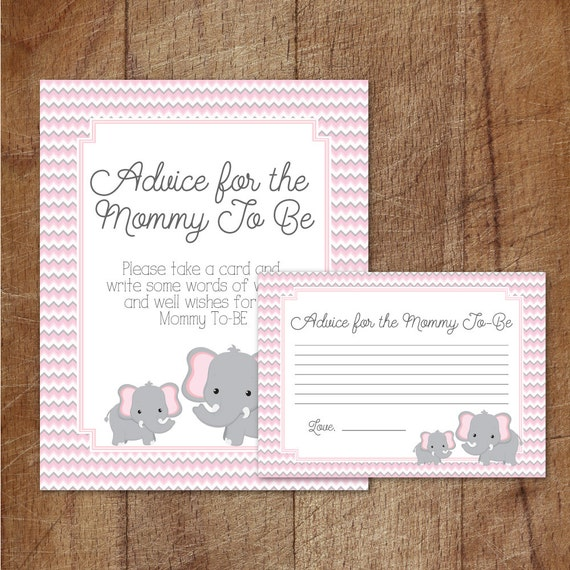 Baby Shower Tips For New Moms: Elephant Baby Shower Advice For Mommy To Be Cards And Sign