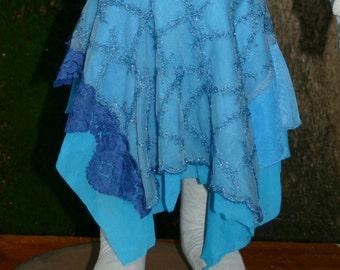 Seabreeze OOAK Pixie Skirt, blue sparkles