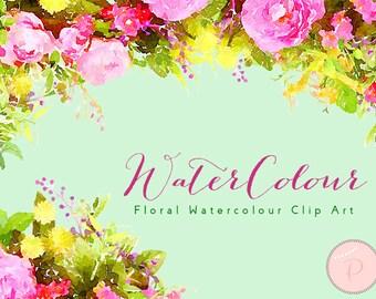 Pink Flower, Floral Wreath Clip art, Watercolor Floral Cliparts, PNG Clipart, floral Cliparts, Instant Download, WCA5