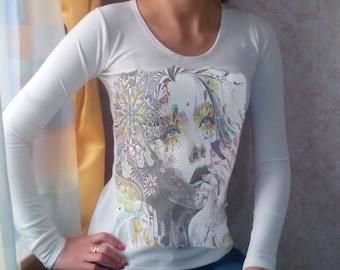 Long sleeve women handmade, art lady face printed shirt