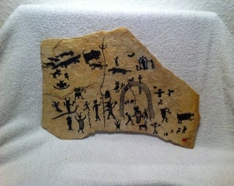 Whole Tribe hunting - rock painting inspired by prehistoric Saharan art