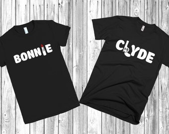 "Couple T-shirts ""Bonnie and Clyde"" set of 2 couple T-shirts Bonnie Clyde Tshirt"