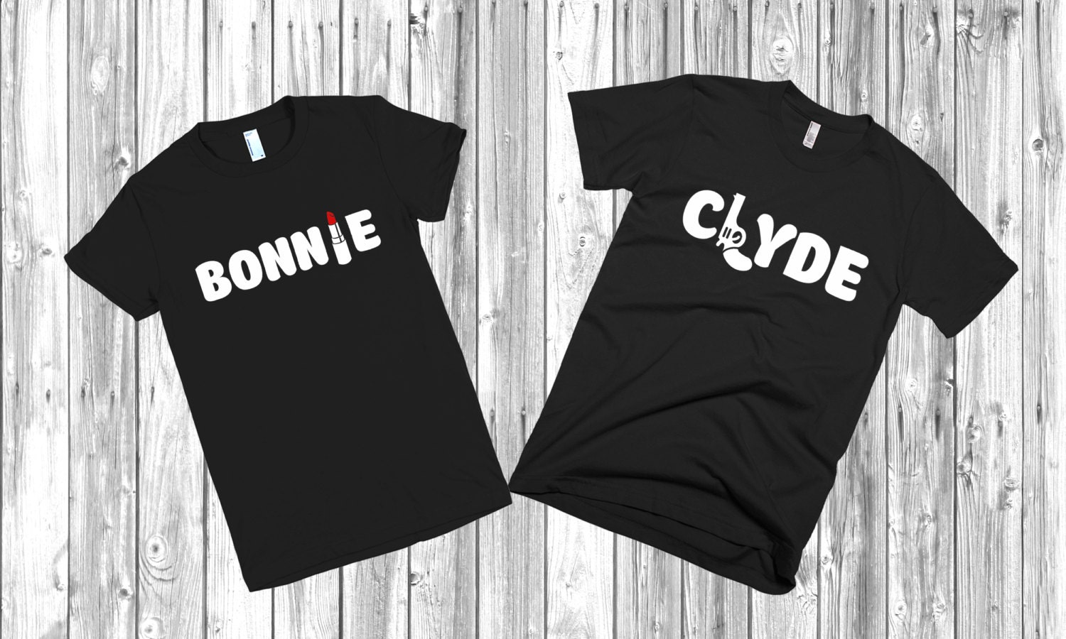 couple t shirts bonnie and clyde set of 2 couple. Black Bedroom Furniture Sets. Home Design Ideas