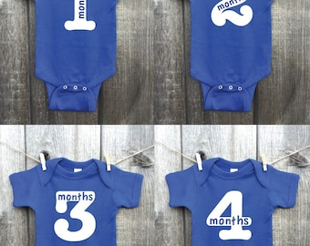 Twelve (12) Monthly Boy Bodysuits, Monthly Baby Pictures, Custom Printed Outfits, Baby Boy, Growth Chart, Growth Tracking Outfits