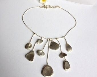 Vintage necklace with pendants in silver tin Antigona Paris